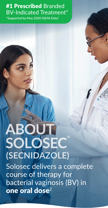 healthcare professional talking with patient about solosec